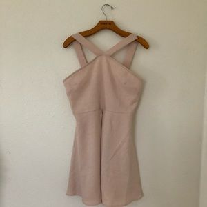 Free To Fly Light Pink Halter Fit And Flare Dress